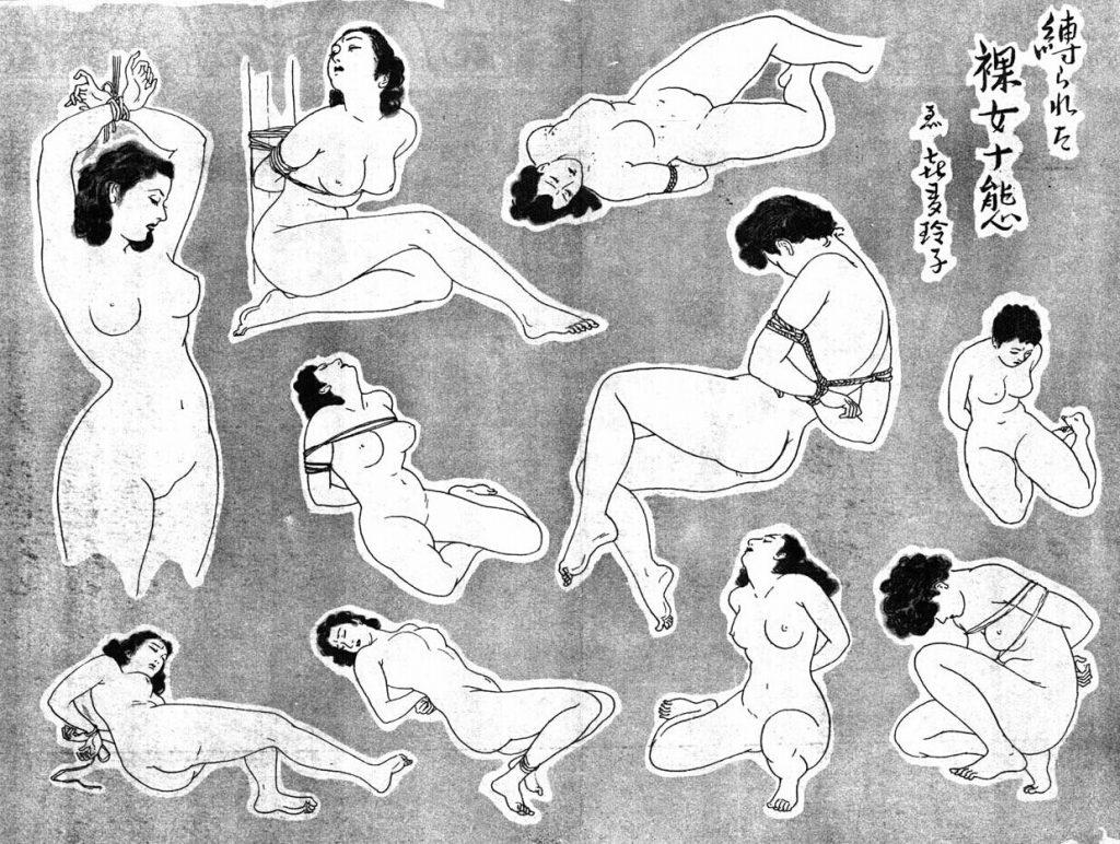 ten naked tied women